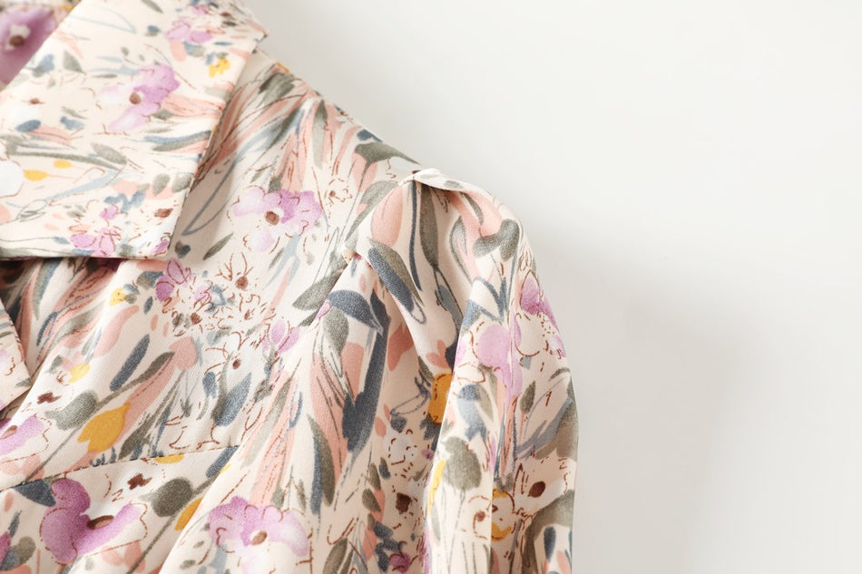 Caydence Plus Size Floral Vintage Wrap Trench Shirt Dress