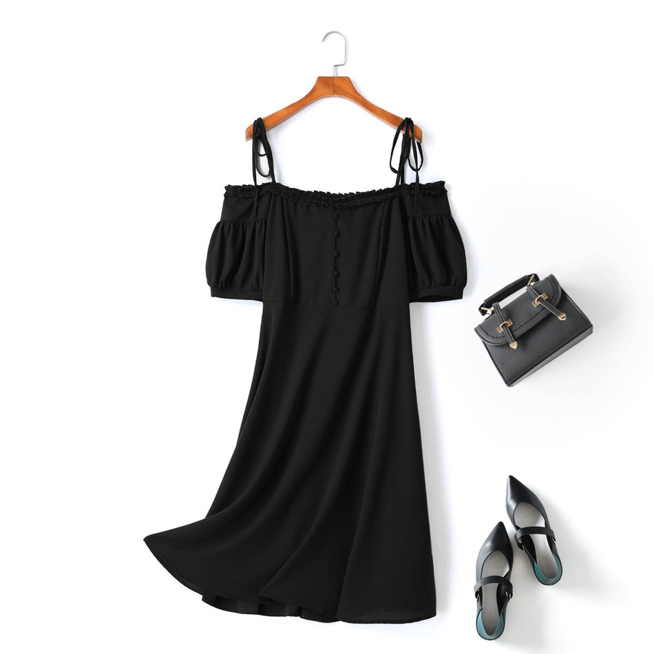 Plus Size Black Vintage Off The Shoulder Midi Dress