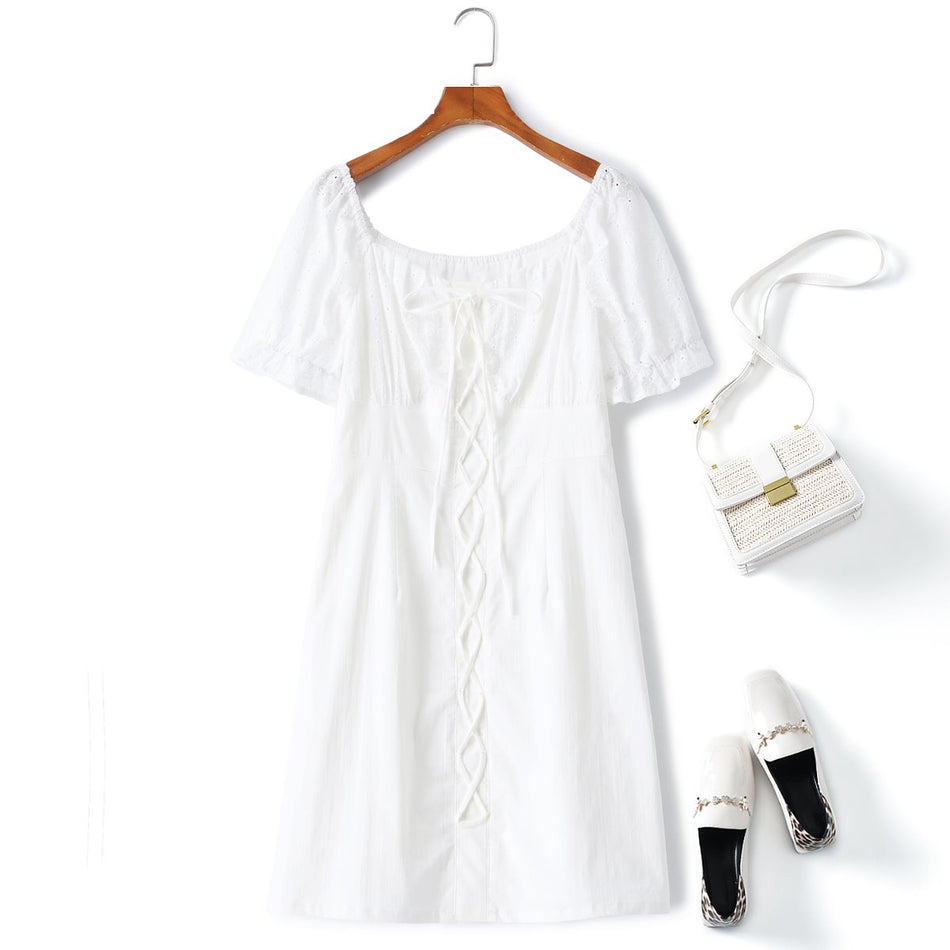plus size lace white dress