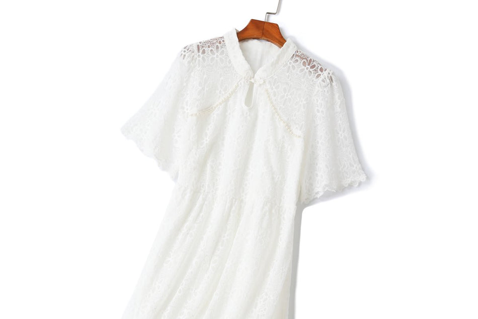 Isabel Plus Size Cheongsam White Lace Dress