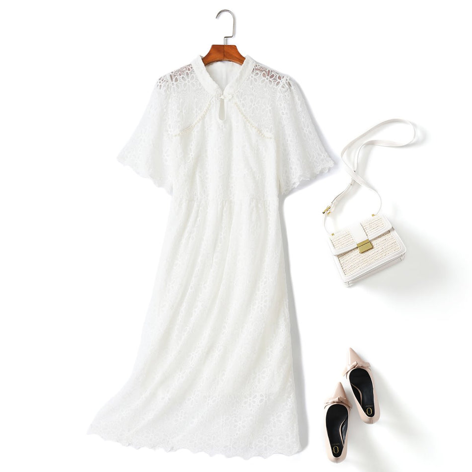 plus size white lace cheongsam dress