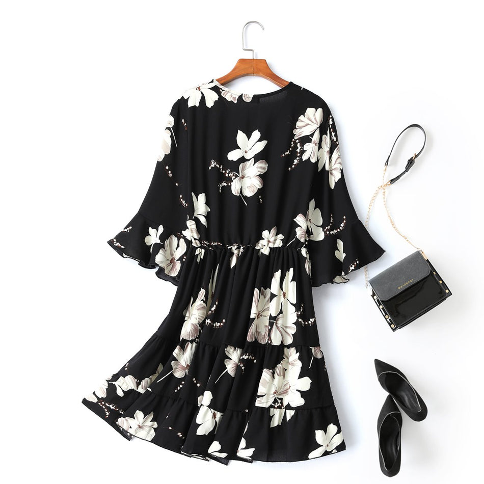 Maesen Plus Size Wrap Floral Dress
