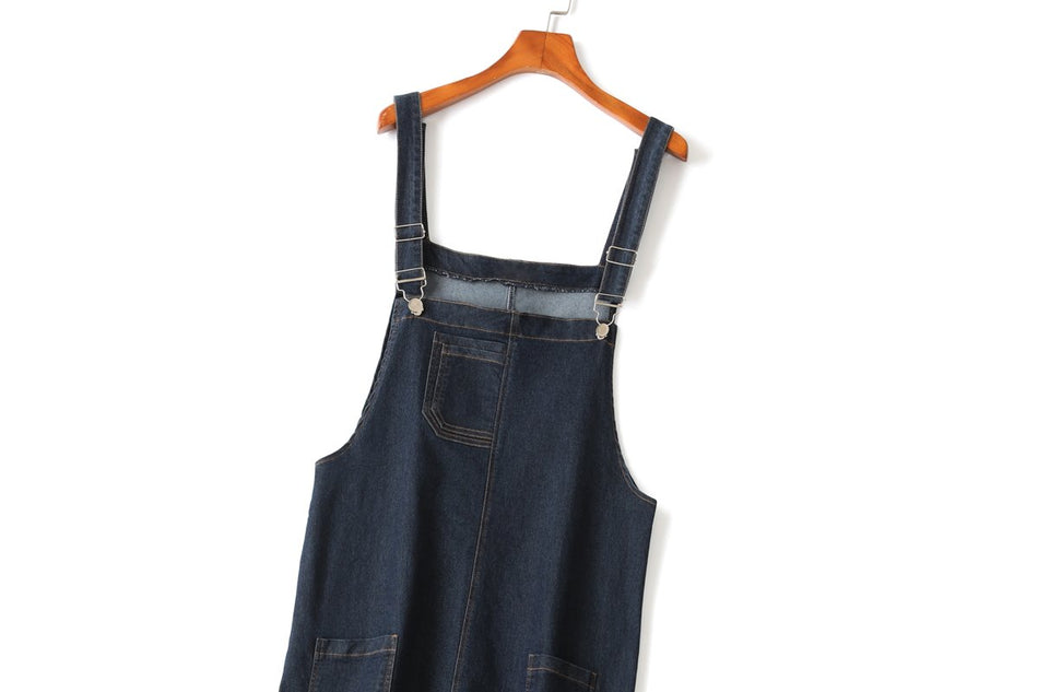 Birdie Plus Size Denim Dungarees Dress
