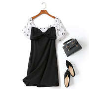 Isla Plus Size Monochrome Hearts Print Sweetheart Bow Off Shoulder Swing Party Short Sleeve Dress