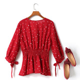 Evelyn Plus Size V Neck Wrap Neckline Polka Dots Ribbon Tie Sleeve Mid Sleeve Blouse (Red, White, Black)