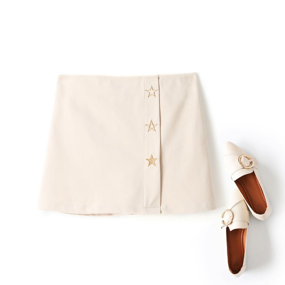 Luna Plus Size Gold Stars Embroidery Woolen Mini Skirt (Cream, Black)