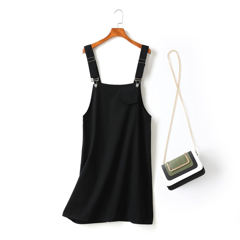 Megan Plus Size Black Suspender Dungaree Denim Sleeveless Dress