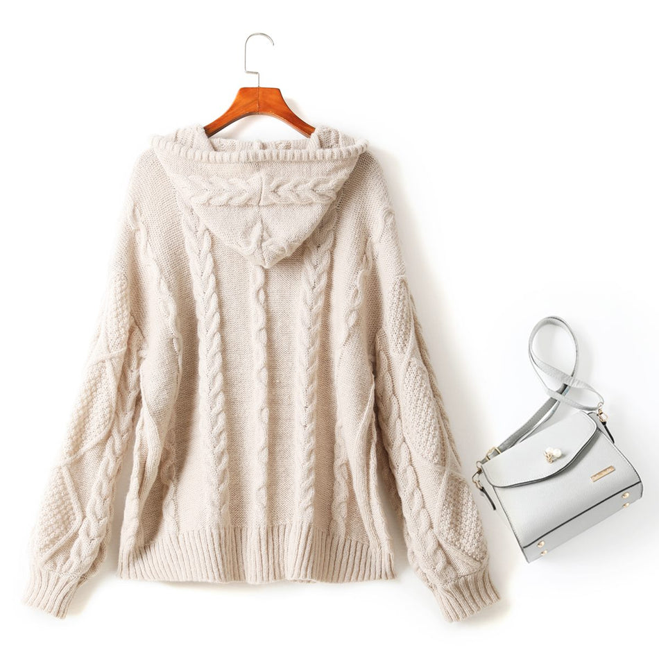 Maisie Plus Size Hoodie Zip Up Cable Knit Cardigan Knit Sweater Jacket (Cream, Pink)