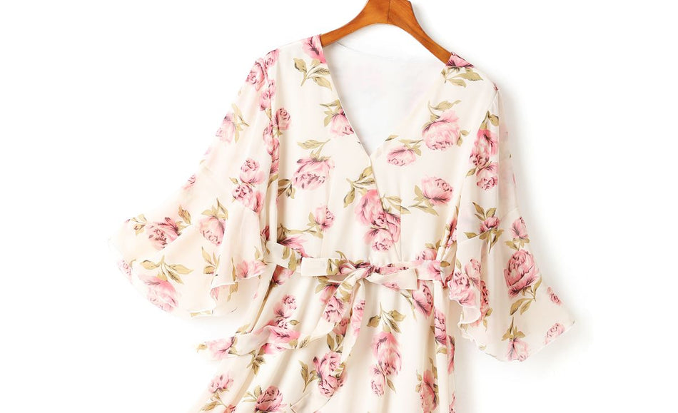 Lucia Plus Size Floral Print Mid Sleeve Midi Dress (Cream, Black)