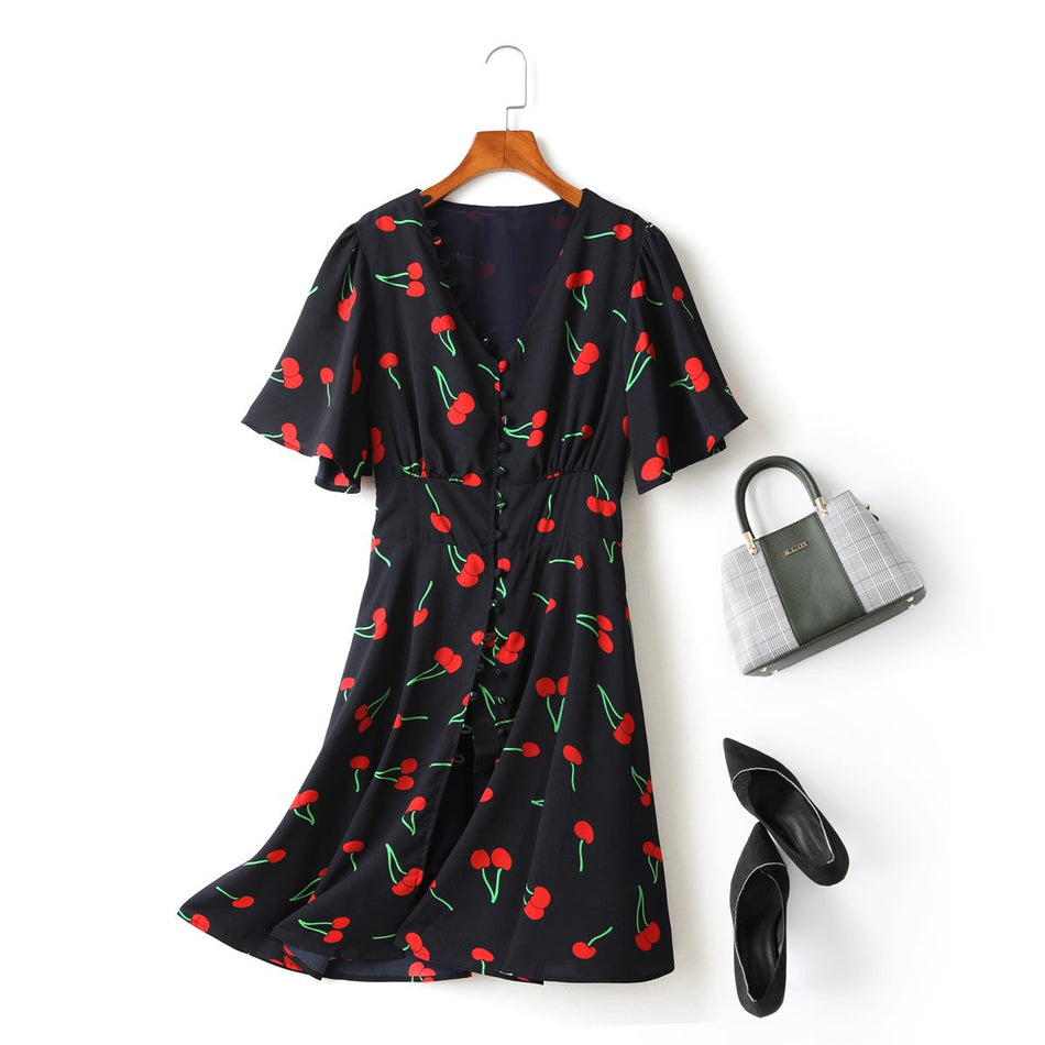 Mila Plus Size Cute Cherry Print V Neck Short Sleeve Dress (Blue)