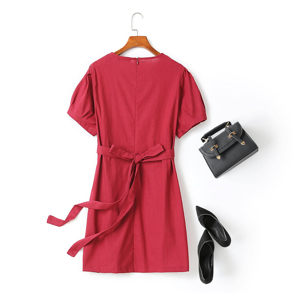 Priscilla Plus Size Red Puff Sleeve Ribbon Short Sleeve Dress