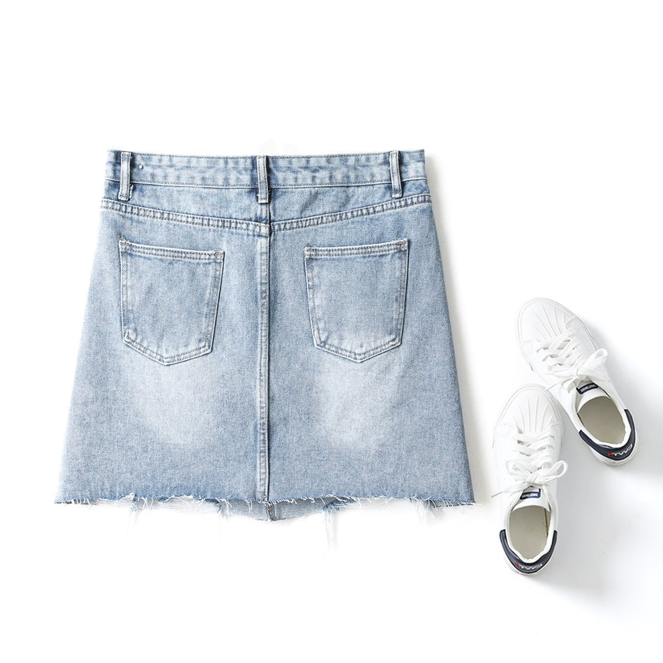 Pia Plus Size Frayed Distressed Mini Denim Skirt (Blue)