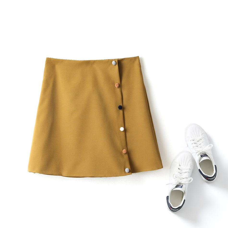Mollie Plus Size Colourful Buttons A Line Mini Skirt Skorts (Yellow)