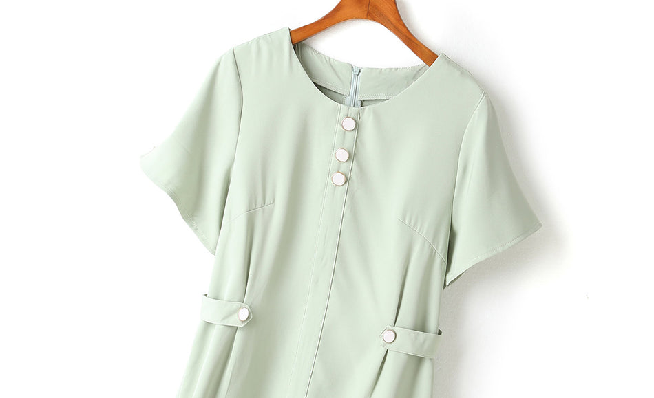 Kelly Plus Size Buttons Mermaid Pastel Colour Short Sleeve Dress (Green)