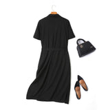 Dion Plus Size Trench Coat Double Breast Belted Short Sleeve Midi Dress
