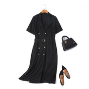 Dion Plus Size Trench Coat Double Breast Belted Short Sleeve Midi Dress (Ready Stock 4XL - 1 Piece)