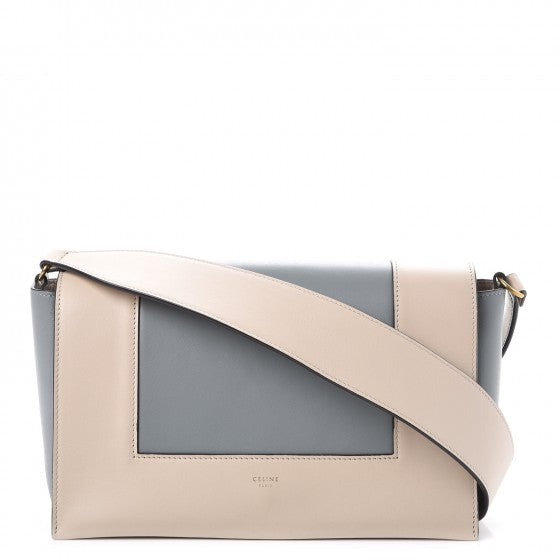 Celine Frame Shiny Smooth Calfskin leather in beige and grey
