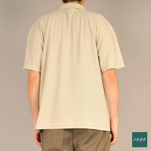 Beige Short Sleeve Polo | Overdele | Vintage | beige Oversized polo retro striber