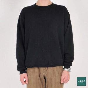 Black Sweatshirt | Overdele | Vintage | black Overdele Sort Sweatshirt Tops