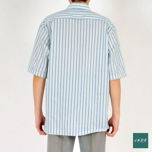 Blue & Green Short Sleeve Shirt | Overdele | Seven Seas | Blue Green Shirt Short Slevved Shirt Stripes