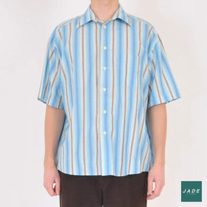 Blue Oscar Hawaian Shirt | Overdele | Oscar | Beige Blue Brown Hawaian Shirt Shirt