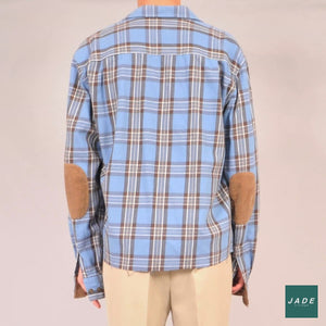 Custom Flannel | Overdele | Vintage | Blue Boxy Brown Custom Flannel