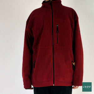 Dark Red Fleece Jacket | Outerwear | Black Blue | Fleece Jacket Jakke Red rød