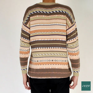 Exotic Knit Sweater | Overdele | Vintage | brown Brun Knit neutral Pattern