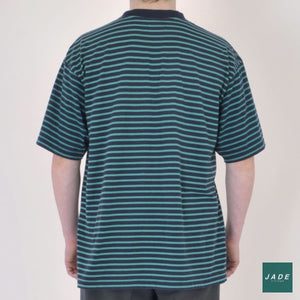 Green & Blue Striped T-shirt | Overdele | Sonnetti | blå Grøn Mørkeblå Retro T-Shirt