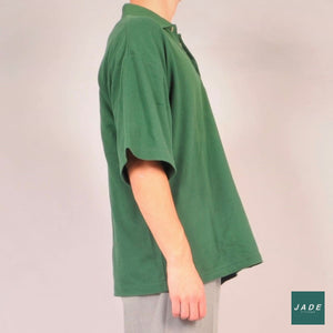Green Short Sleeve Polo | Overdele | Vintage | Button up Green Grøn polo Vintage