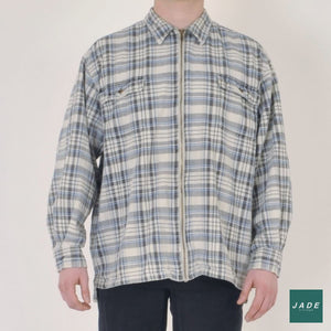 Heavy Plaid Shirt with Zipper | Outerwear | Rocky | Flannel Heavy Plaid Vintage Zippers