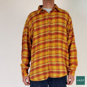 Orange & Yellow Long Sleeve Shirt | Overdele | London Shirt | Checkered Shirt Orange Shirt Vintage Yellow