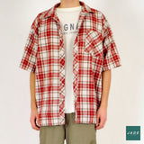 Short Sleeve Shirt | Overdele | Vintage | Blue brown Checkered Shirt Oversized Red
