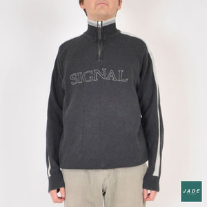 Signal Zip-Up sweater | Overdele | Signal | Grey Grå Lynlås Retro Signal