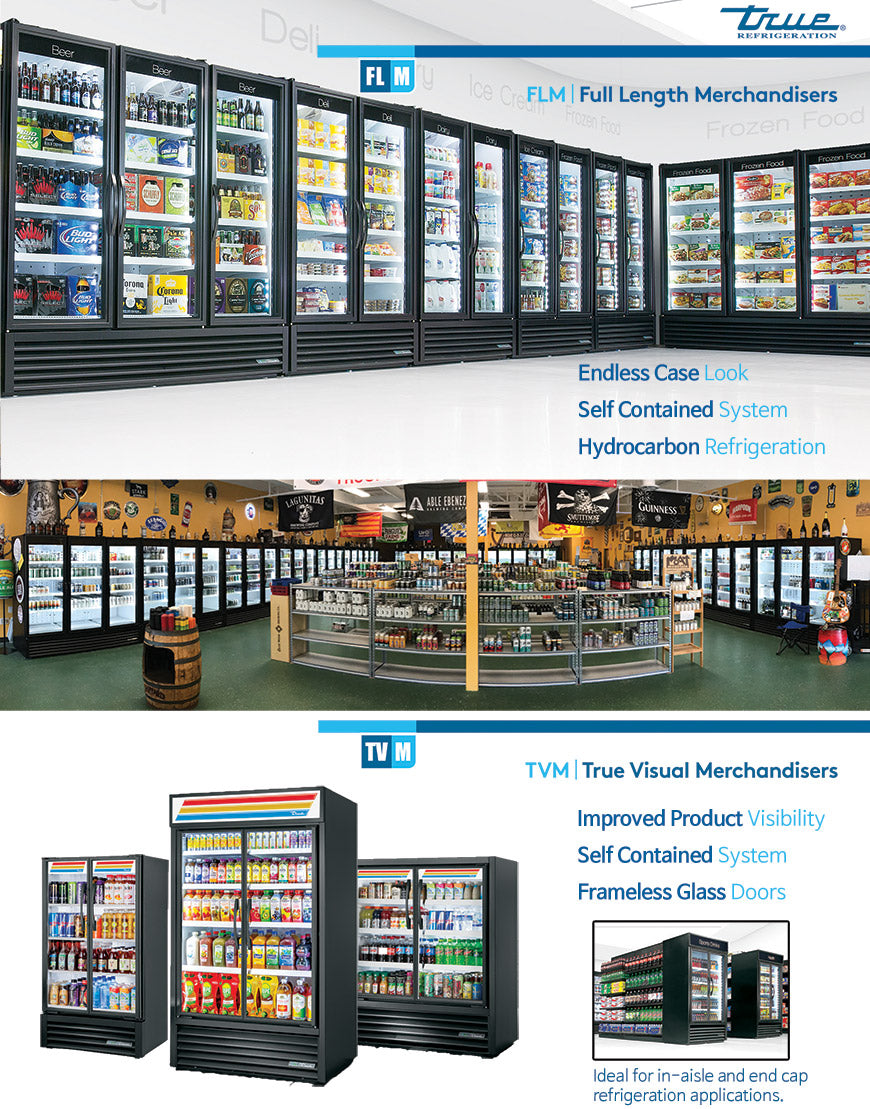 True FLM and TVM series for grocery store, liquor store, convenience and supermarket