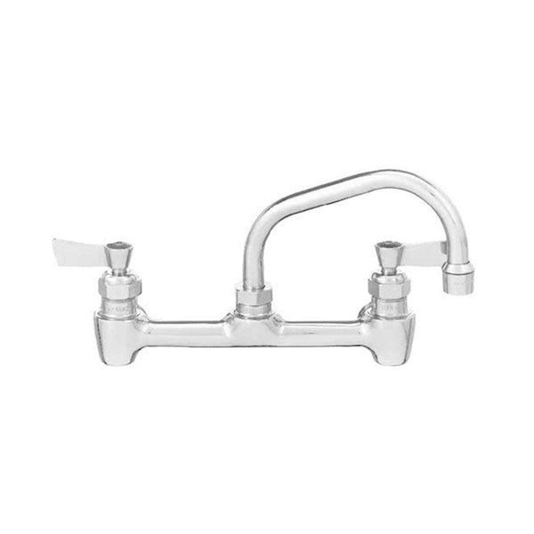 "Fisher 64750 Backsplash Mounted Faucet with 8"" Centers, 10"" Swing Nozzle, 2.2 GPM Aerator, Lever Handles, and EZ Install Adapters"