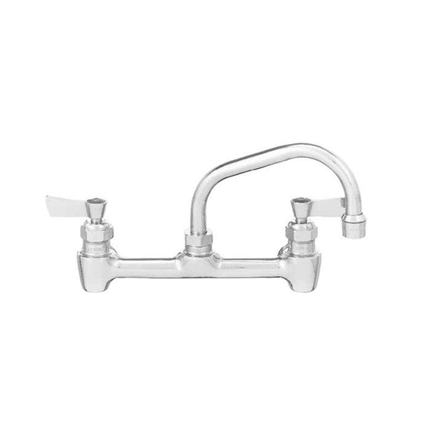 "Fisher 64785 Backsplash Mounted Faucet with 8"" Centers, 16"" Swing Nozzle, 2.2 GPM Aerator, Lever Handles, and EZ Install Adapters"