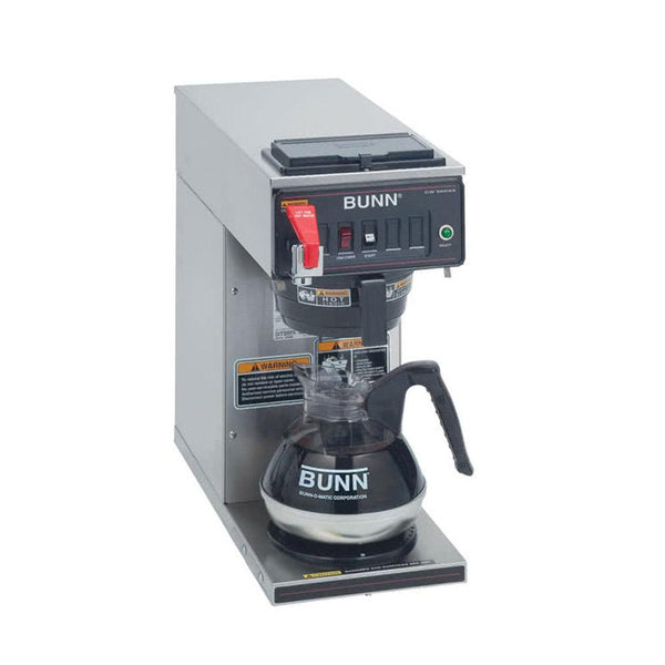 Bunn CWTF15-1 Automatic 12 Cup Coffee Brewer with 1 Lower Warmer and Black Plastic Funnel