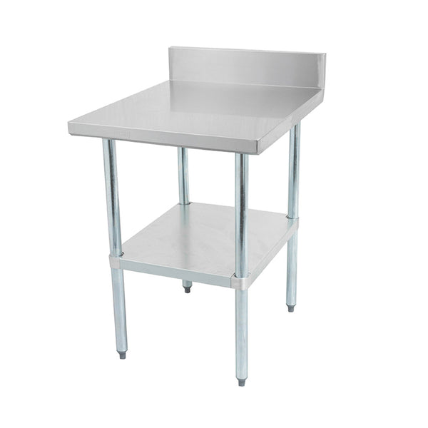 Thorinox DSST-BK Stainless steel worktable with a galvanized steel undershelf and backsplash