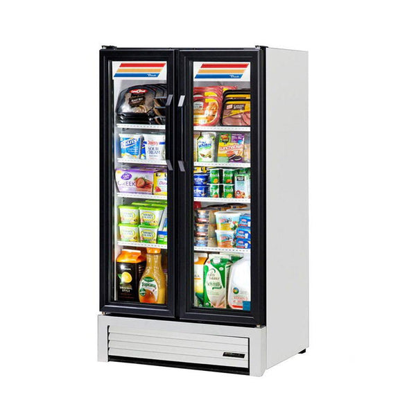 "True GDM-30-HC-LD 30"" Two-Section Glass Swing Door Merchandising Refrigerator with LED Lighting"