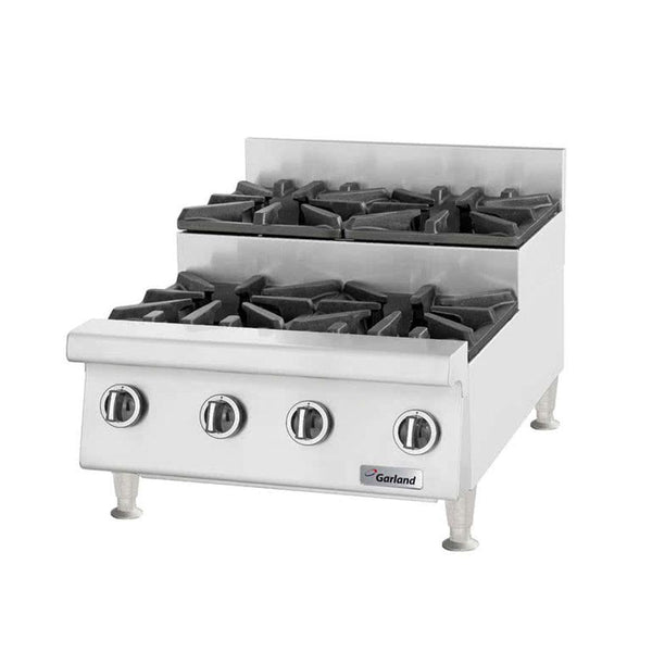 "Garland GTOG24-SU4 Natural Gas / Liquid Propane 4 Burner 24"" Step-Up Countertop Range - 120,000 BTU"