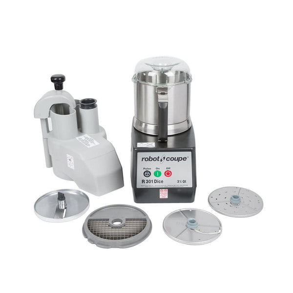 Robot Coupe R301 Dice Ultra Combination Continuous Feed Food Processor / Dicer with 3.5 Qt. Stainless Steel Bowl