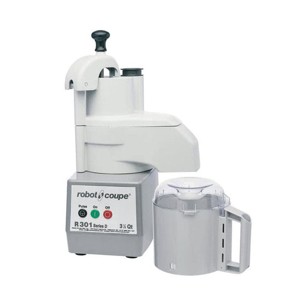 Robot Coupe R301 Combination Continuous Feed Food Processor with 3.5 Qt. Gray Polycarbonate Bowl