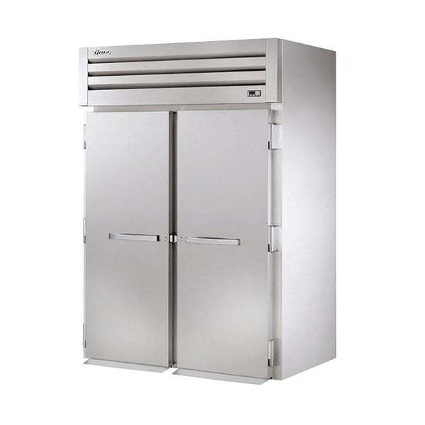"True STA2HRI-2S 68"" Two-Section Roll-In Solid Swing Door Heated Cabinet - 4000W"