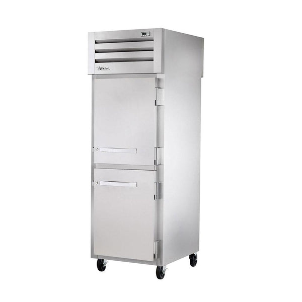True STG1RPT-2HS-1S-HC Pass Thru Solid Half Front / Solid Rear Swing Door Refrigerator