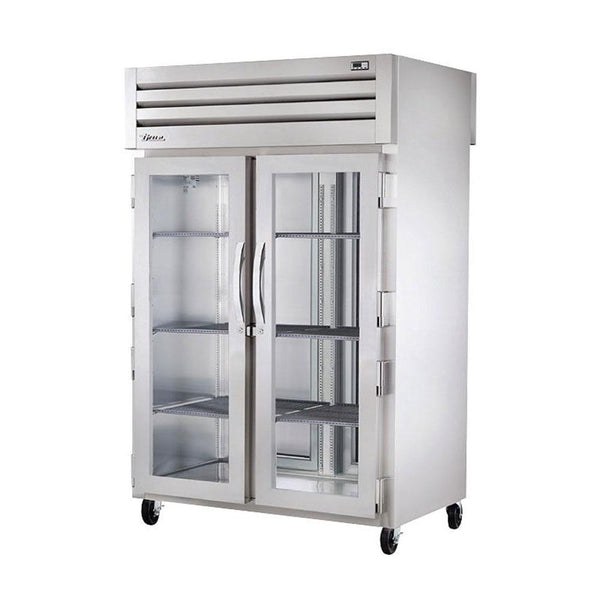 "True STG2HPT-2G-2S 52"" Pass-Thru Glass Front / Solid Rear Swing Door Heated Cabinet - 3000W"