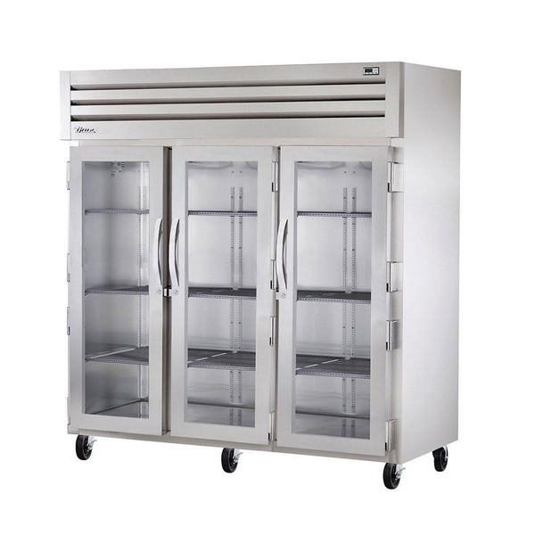 "True STG3R-3G 77"" Three-Section Reach-In Glass Swing Door Refrigerator"