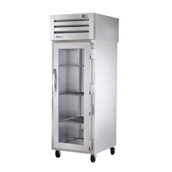 "True STR1HPT-1G-1S 27.5"" Pass-Thru Glass Front / Solid Rear Swing Door Heated Cabinet - 1500W"