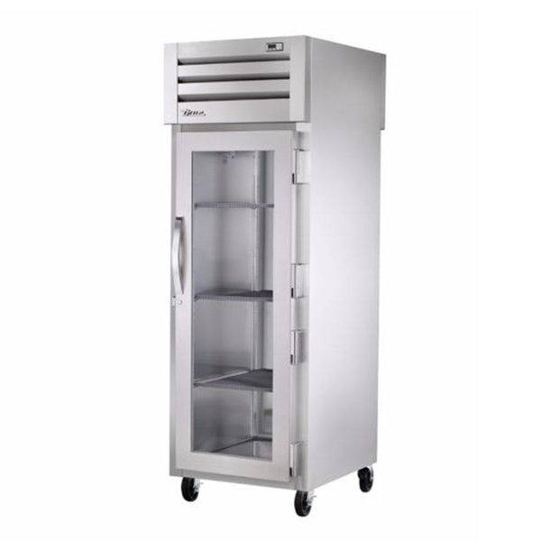 "True STR1RPT-1G-1S-HC 27.5"" Pass-Thru Glass Front / Solid Rear Swing Door Refrigerator"