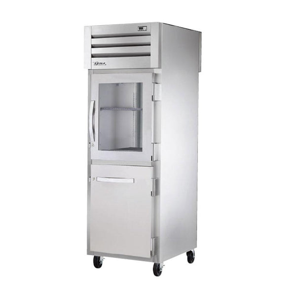 "True STR1RPT-1HG/1HS-1G-HC 27.5"" Half Front / Glass Rear Swing Door Refrigerator"